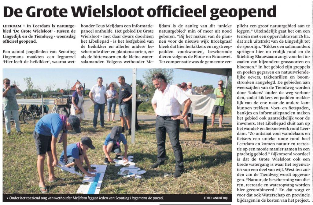 Artikel over de Grote Wielsloot in het Kontakt, editie Leerdam.