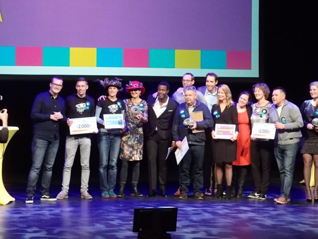 Prachtlint op het podium met de andere prijswinnaars